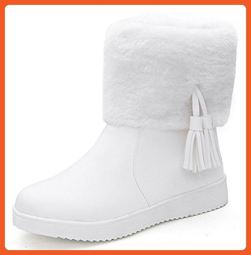 IDIFU Women's Warm Fringes Faux Fur Lined Winter Boots Thick Ankle High Snow Booties White 6.5 B(M) US - Boots for women (*Amazon Partner-Link)