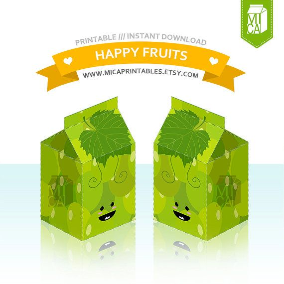 Happy Fruits Printable Party Favor Treat Gift by MicaPrintables #grapes #green #cute