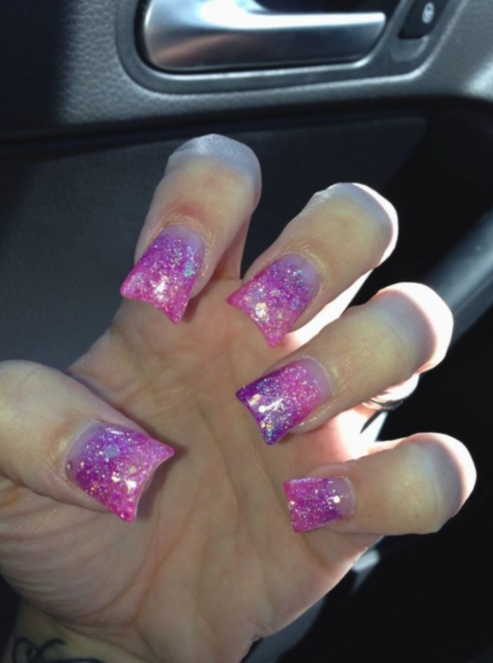 14 Nail Acrylic Purple Fade Ombre Nails Glitter Sculptured Acrylic Nails Purple Nails
