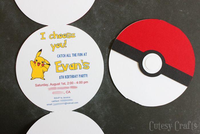 Pokemon Birthday Party Invitations - Free Silhouette cut file OR pdf printable!