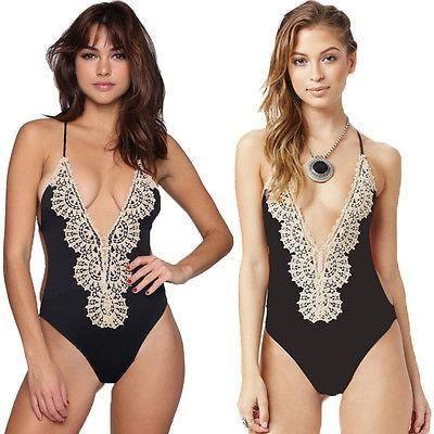 Crochet Lace One Piece Swimsuit Strappy High Waist Swimwear Women Bodysuit Bathing Suits Monokinis