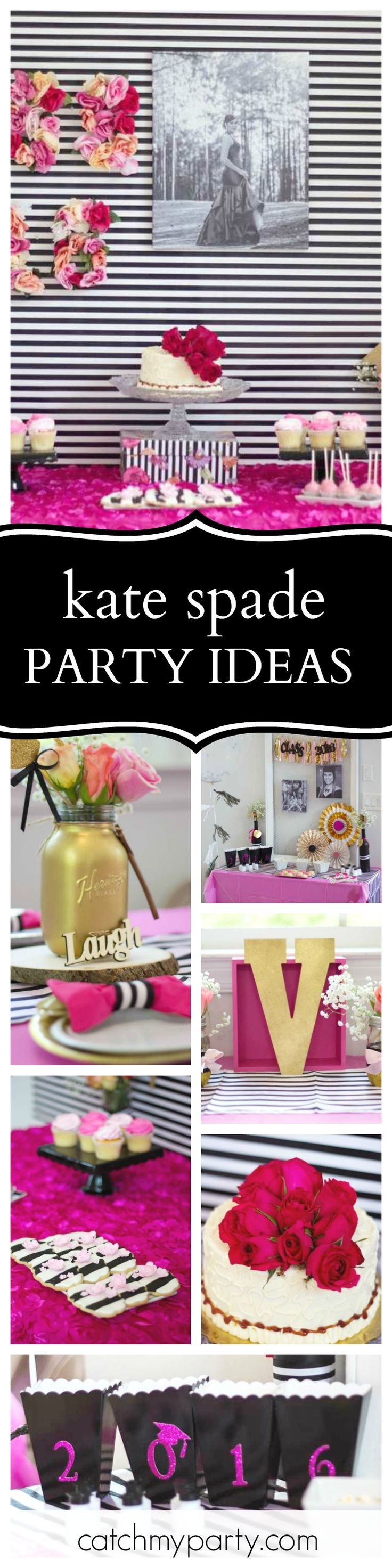 Check out this stylish Kate Spade Class of 2016 Graduation party. The dessert table and backdrop are fabulous! See more party ideas and share yours at CatchMyParty.com