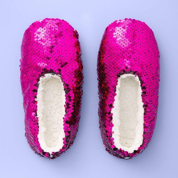 Girls' Flip Sequin Slipper Socks - More