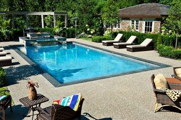 Gib - San Pools Ltd. - contemporary - pool - toronto - Gib-San Pools Ltd. Example of exposed aggregate concrete pool decking option. I like these colors together (concrete and pavers):