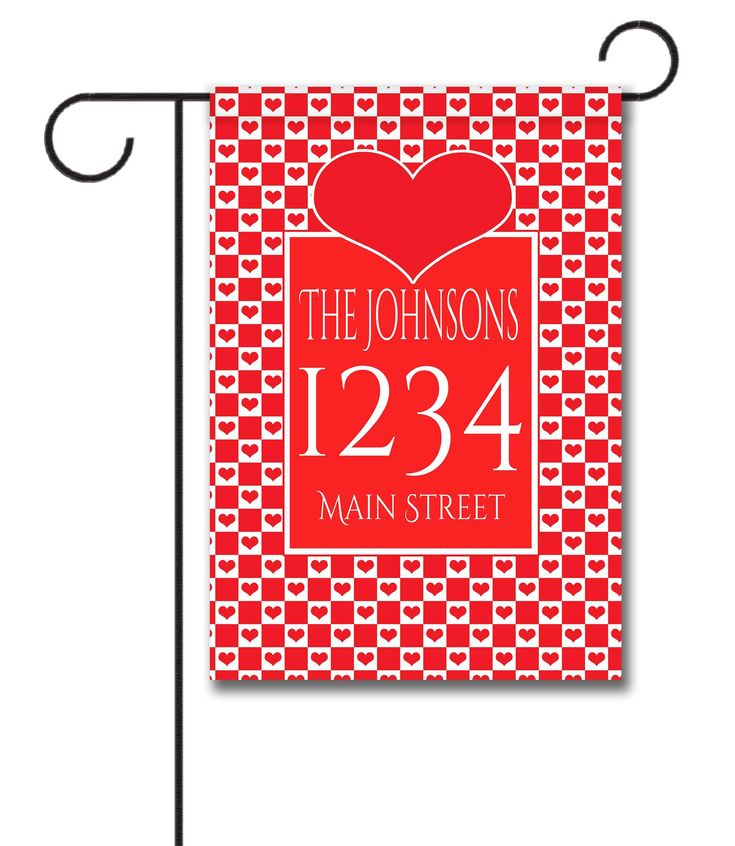 """Checkered Hearts - Address Garden Flag 12.5"""" x 18"""" Flag stand sold separately Proudly Printed in the USA Vibrant colors printed on a poly/cotton outdoor quality fabric. Digitally printed on both sides of the fabric. Two fabric options given at checkout. Ships in 5 days or less!"""