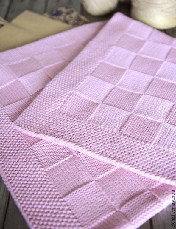 Купить+Плед+детский+вязаный+Chess+(pink)+-+розовый,+плед+детский,+плед+детский+вязаный