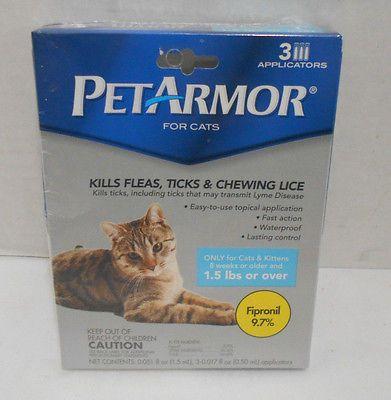 PetArmor For Cats 3 Applicators Flea, Ticks, Chewing Lice Kill and Prevention