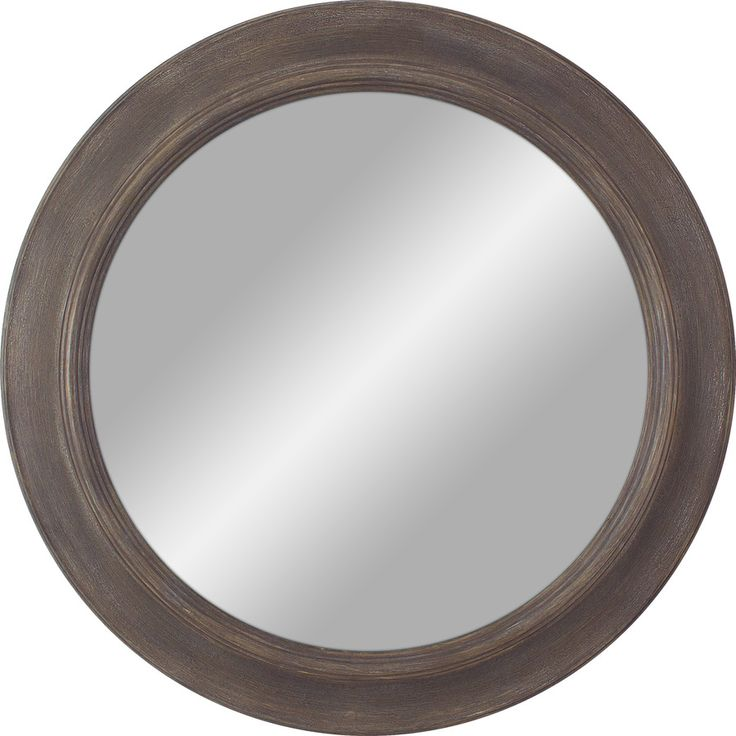 30-in x 30-in Medium Wood Polished Round Framed Transitional Wall Mirror
