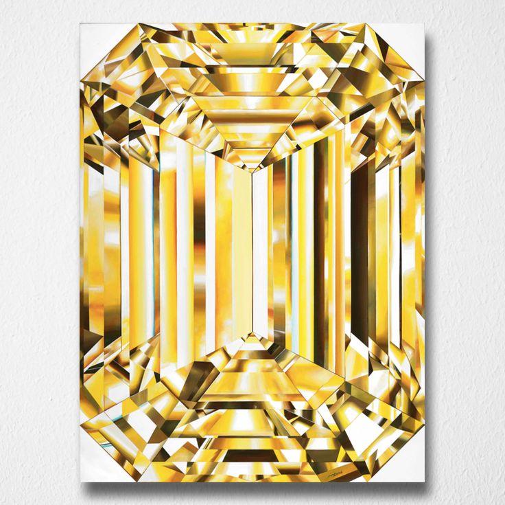 Glorious (Canvas print) by Reena Ahluwalia. Fancy Vivid Yellow Emerald Cut Diamond. Starts from 345.00. #FancyColorDiamonds #DiamondPaintings #DiamondArt #ReenaAhluwalia #YellowDiamond #EmeraldCut