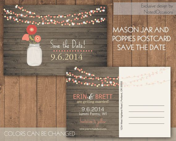 DIY Printable - Save the Date Postcard Wedding - Mason jar and Coral Poppies | Rustic mason jar w/ wood grain Back Postcard Save the Dates by NotedOccasions, $30.00