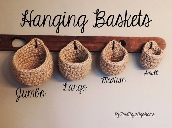 Coat Rack Baskets, Wall Storage, Chunky, Eco Friendly Jute Hook Storage Basket, Sturdy Rustic Hanging Pouch, Plant Hanger, Heavy Duty