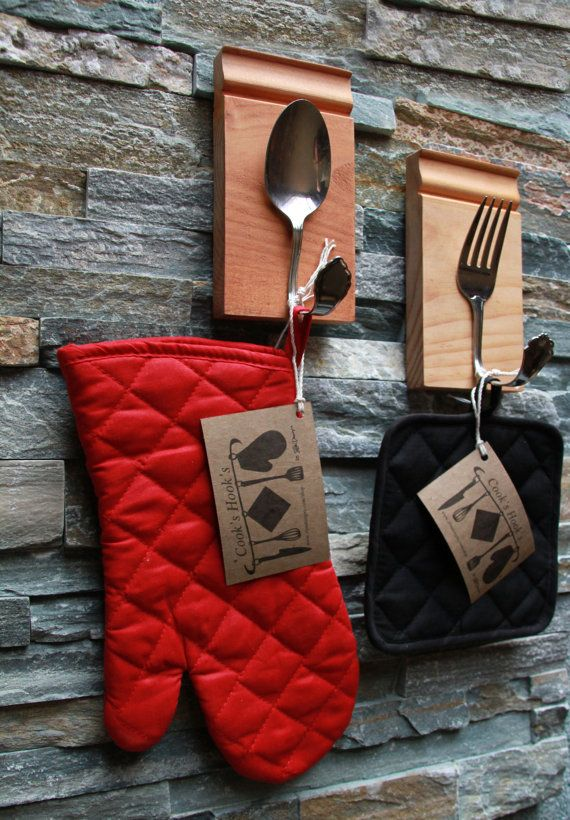 Unique 'Cook Hooks' - Spoon and fork set great for kitchen decor. Made from salvaged materials, would add style and function to my kitchen! $32 the pot holders even come with it!