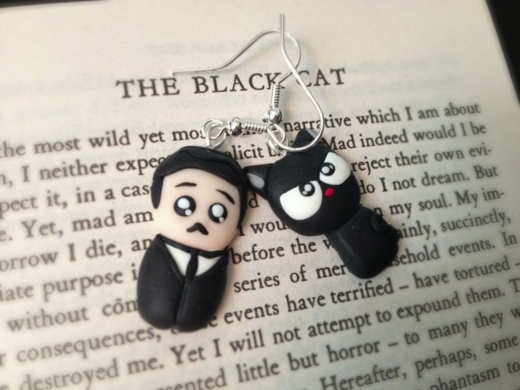 Little POE and black cat fimo earrings!