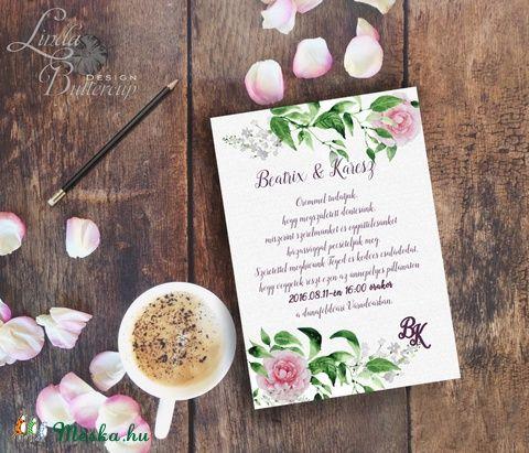 Esküvői meghívó, Rózsás Virágos Esküvői lap, Esküvő Képeslap, rózsa lap,  rózsaszín meghívó, Esküvő, Naptár, képeslap, album, Meghívó, ültetőkártya, köszönőajándék, Képeslap, levélpapír, Meska