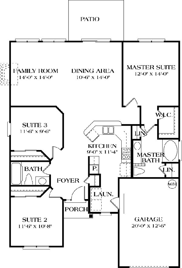 "Winward ""A"" House Plan 1918 - 3 Bedrooms and 2 Baths 
