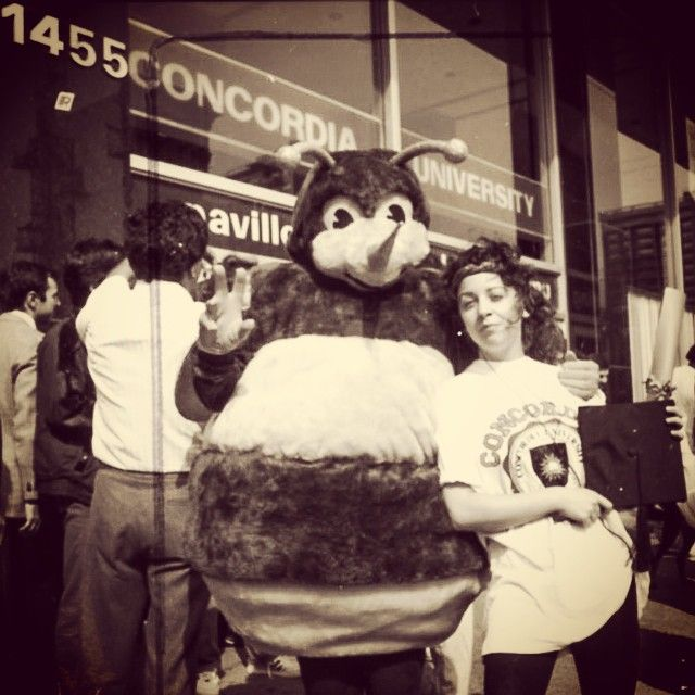 Here's an awesome #retro #Instagram post! This photo feature's a much younger version of #Buzz our #mascot and number one fan of the #Concordia #Stingers at our Concordia Shuffle fundraising walk!  There's one week left until #Shuffle 25! #Concordia's annual fundraising event takes place September 19 – and there's still time to register and qualify for great prizes! #FlashbackFriday #FBF #CUshuffle #CUalumni #CUhomecoming