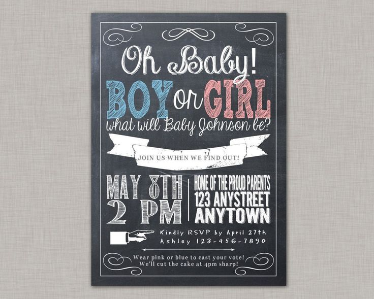 9 best images about gender reveal party on pinterest | baby shower, Baby shower invitations