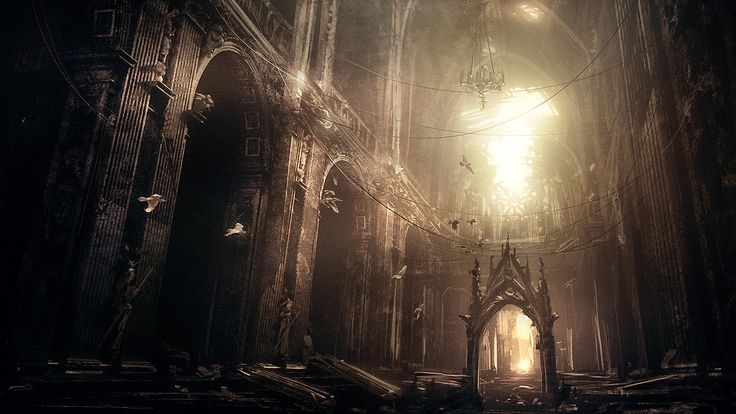 An abandoned gothic cathedral.