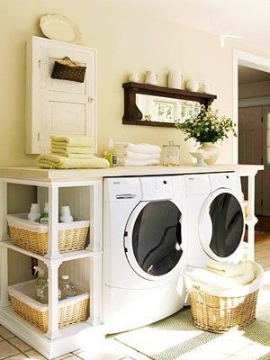 Nice use of space for the laundry. Shelves on either side and bench top above.