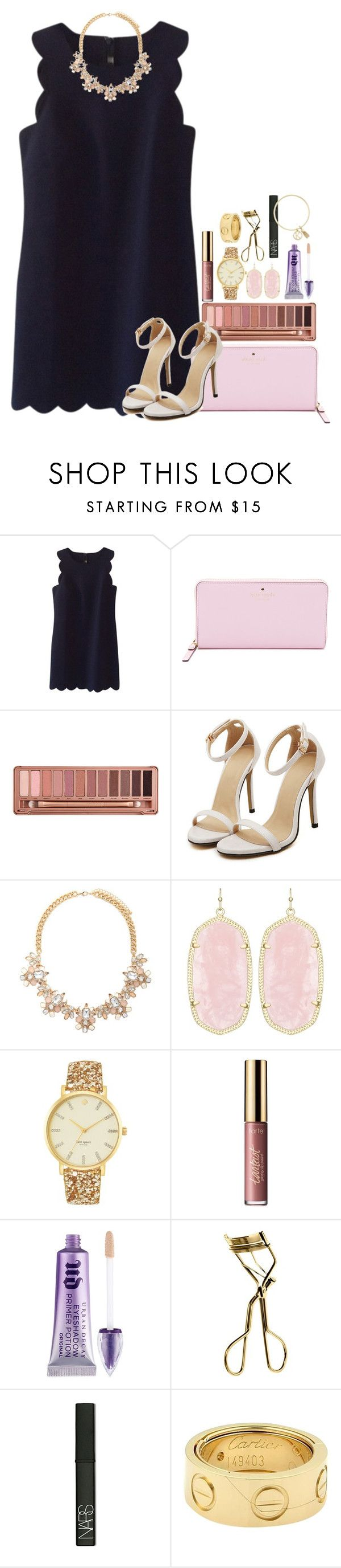 """""""wanting to go to something fancy"""" by thefashionbyem ❤ liked on Polyvore featuring J.Crew, Kate Spade, Urban Decay, Forever 21, Kendra Scott, tarte, MAC Cosmetics, NARS Cosmetics, Cartier and BCBGeneration"""