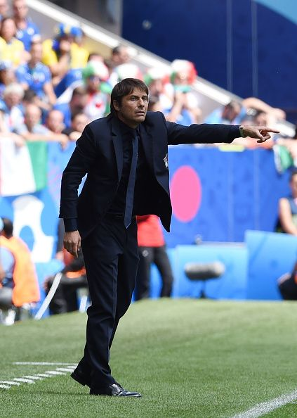 Antonio Conte head coach of Italy reacts on the touchline during the UEFA EURO 2016 Group E match between Italy and Sweden at Stadium Municipal on...