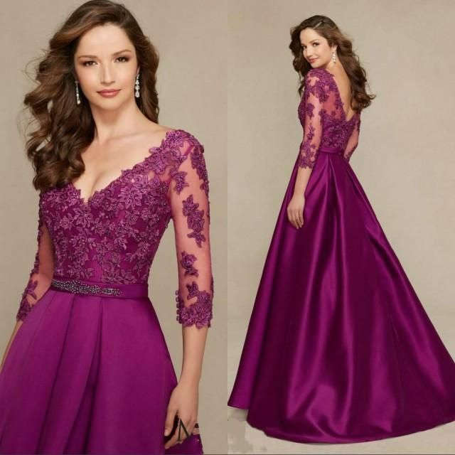 free shipping, $104.82/piece:buy wholesale elegant grape lace mermaid mother of bride formal gowns with sheer half sleeves v neck backless 2016 women evening mother formal wear 2016 spring summer,reference images,satin on hjklp88's Store from DHgate.com, get worldwide delivery and buyer protection service.