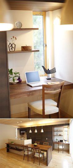 対面キッチンとつながる、家事の合間にほっとできる奥さまのための書斎です。|インテリア|おしゃれ|自然素材|飾り棚|