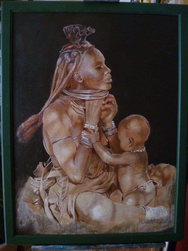 """Monica Peralta: """"Maternità himba"""" Olio su tela"""