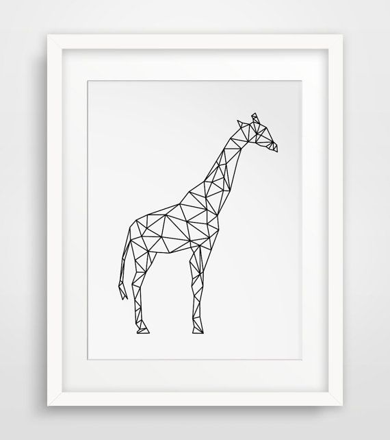 Giraffe Art, Geometric Animal, Black and White Prints, Geometric Art, Giraffe Prints, Animal Wall Art, Printable Art, Geometric Prints