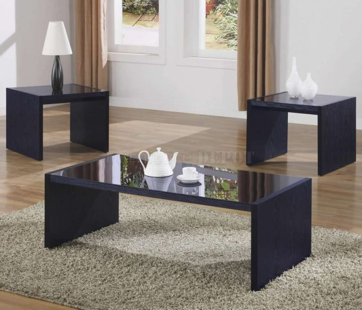 Modern Glass Black Coffee Table Sets