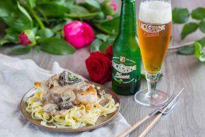 Poulet à la Bière Licorne Elsass & aux champignons
