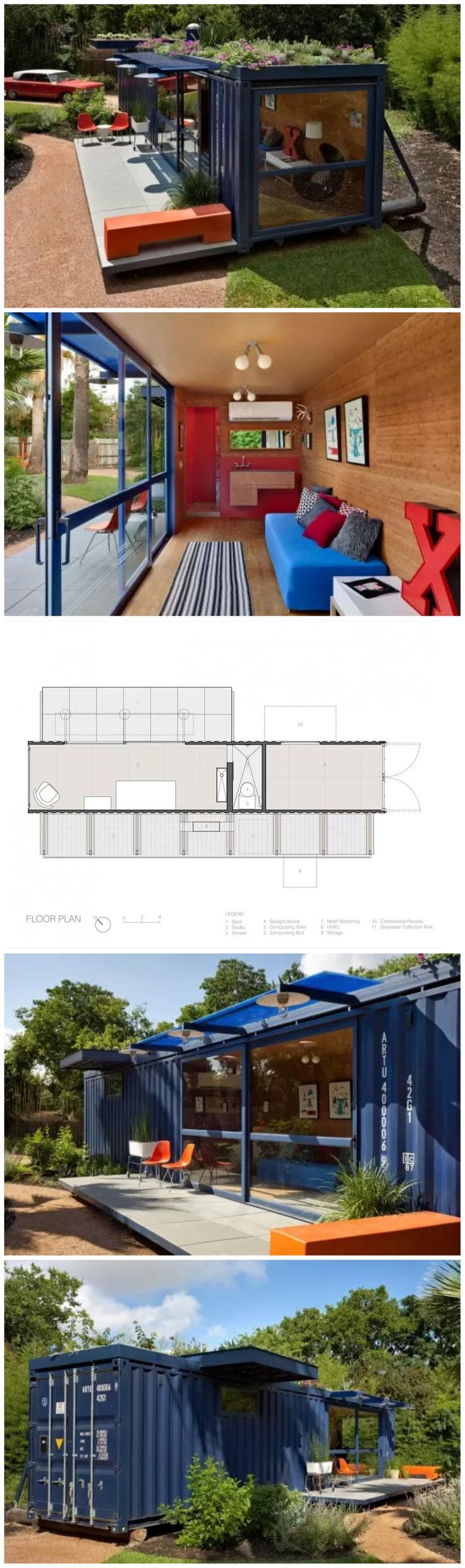 Shipping Container Sustainable House - Add solar panels and plants on roof...x