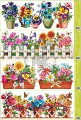 Folie okenní - truhlíkové květiny