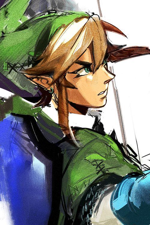 una buena muestra de un estilo fuerte pero interesante aplicado al personaje del juego The legend of Zelda (Link)