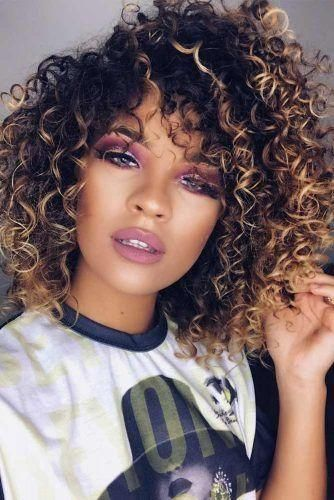 Are you looking for 16 Inches Long Curly Wigs Ombre Blonde Brown Synthetic Wigs for African Black Women?