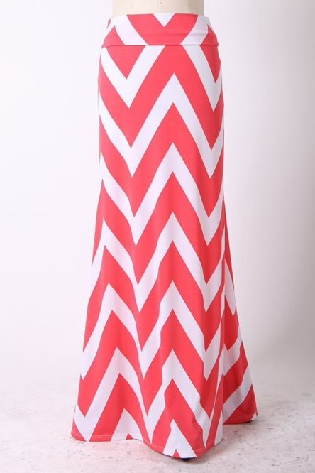 Plus Size Chevron Maxi Skirt Coral