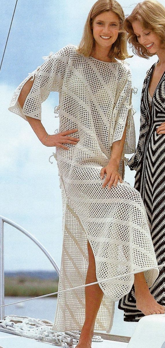 Diagonal Filet Crochet Floor Length Beach Caftan by MomentsInTwine