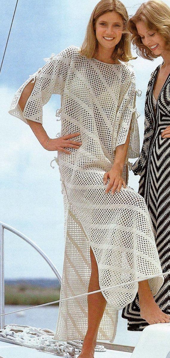 Diagonal Filet Crochet Floor Length Beach Caftan or Swimsuit Coverup PDF Crochet Pattern