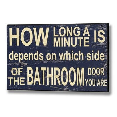 CHIC SHABBY BATHROOM SIGN – Humorous Wall Hanging Lavatory Bathroom Plaque Classic Blue