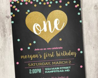 Welcome to Heather Hughes Design!  Please be sure to read all of the following information before submitting your order. This listing is for a 1-sided, 5x7 digital design file. This invite can be used for any age, not just first birthdays! Please note the age of your child in the notes to seller.  for the matching milestone chalkboard sign: https://www.etsy.com/listing/274207464/first-birthday-chalkboard-poster-1st?ref=listings_manager_grid  To check out more bir...