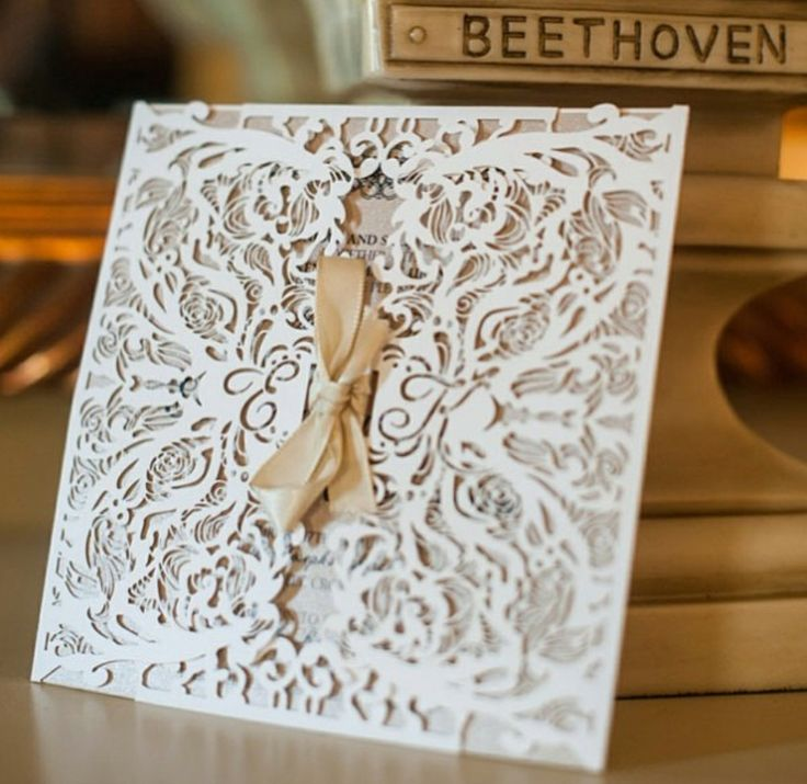 Sydney laser cut 'Rosalie' wedding invitation design - inspired by vintage lace and red roses