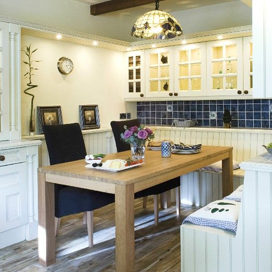 Traditional Painted Kitchen Alcove Dining Area And Bench