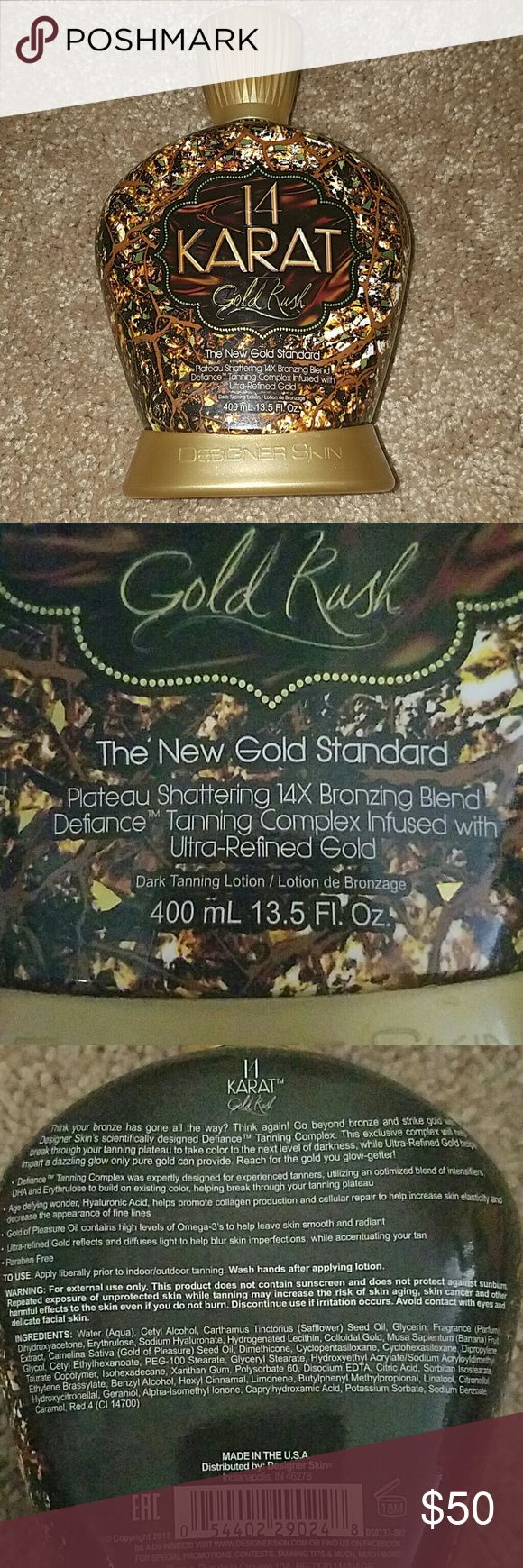 14 Karat Gold Rush tanning lotion Designer Skin Supposed to break the tanning plateau where you can't get any darker. It's brand new. I don't have time to tan with two small kids. I paid $60 for it at an upscale local tanning salon. I got a spray tan that day and never went back. Make an offer! Designer Skin Other