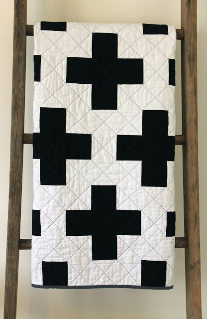 craftyblossom: black and white cross quilt