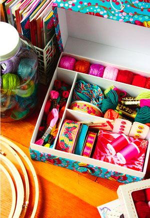 "Creative Space Sewing Boxes from Anna Maria Horner are perfect for those who love her bold and beautiful fabric designs. The 10-1/2x10-1/2x5"" storage containers are available in two prints; a fabric-covered button and elastic loop secure the lid."