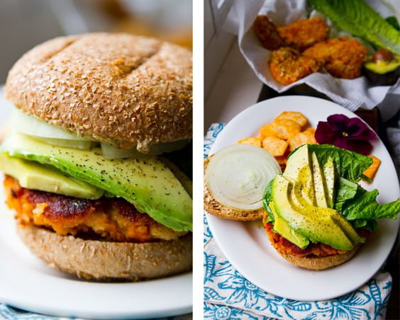 Sweet potato veggie burger w avocado. All of my favorite foods on