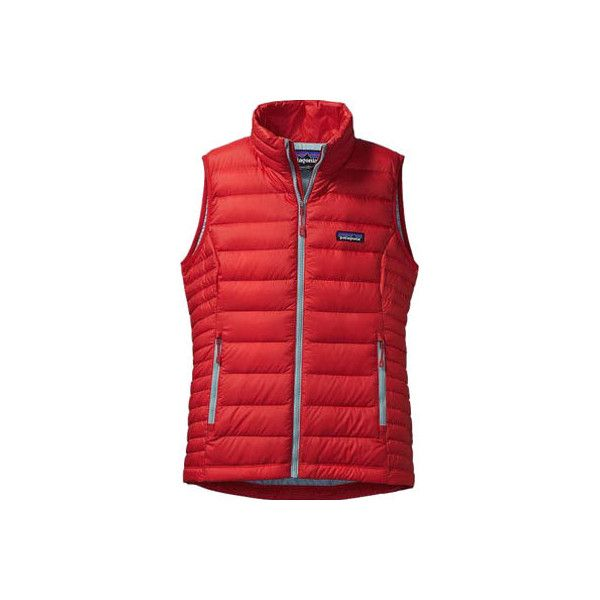 Women's Patagonia Down Sweater Vest - French Red Jackets ($179) ❤ liked on Polyvore featuring outerwear, vests, red, zipper vest, zipper sweater vest, red waistcoat, zip sweater vest and zip vest