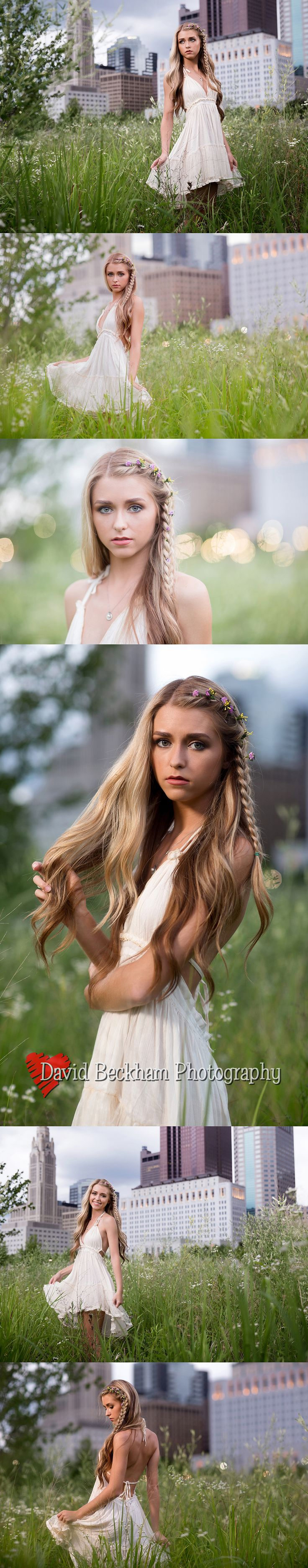 Urban Wildflowers with model Jessie.  Great little boho dress and flowers in her braided hair make for a serious and fun senior portrait look.