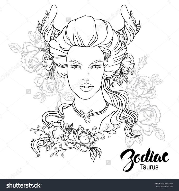 Zodiac Taurus Girl Coloring Page