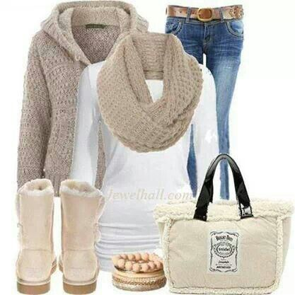 Light beage warm winter outfit